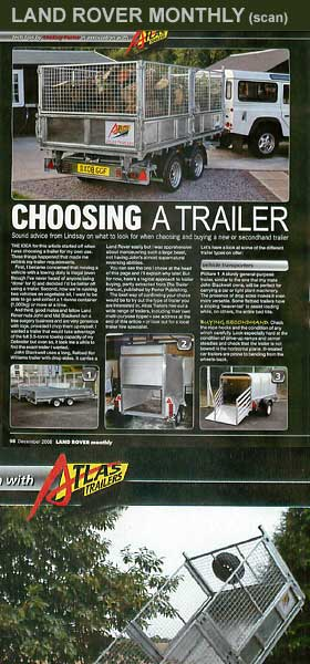 choosing a new or secondhand trailer - article in Land Rover Monthly magazine - click to see Land Rover Monthly web site