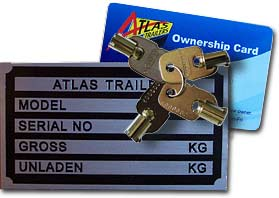 Atlas Trailer ownership card - ask to see this when buying an Atlas trailer - it may be stolen