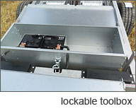 Our tipping trailers feature a lockable tool box